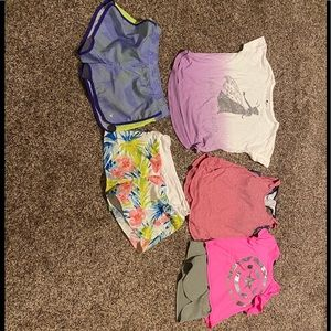 Three shirt and two short girls size xl 14-16